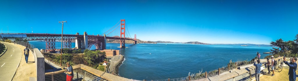 Foto Panoramica del golden gate bridge a San Francisco
