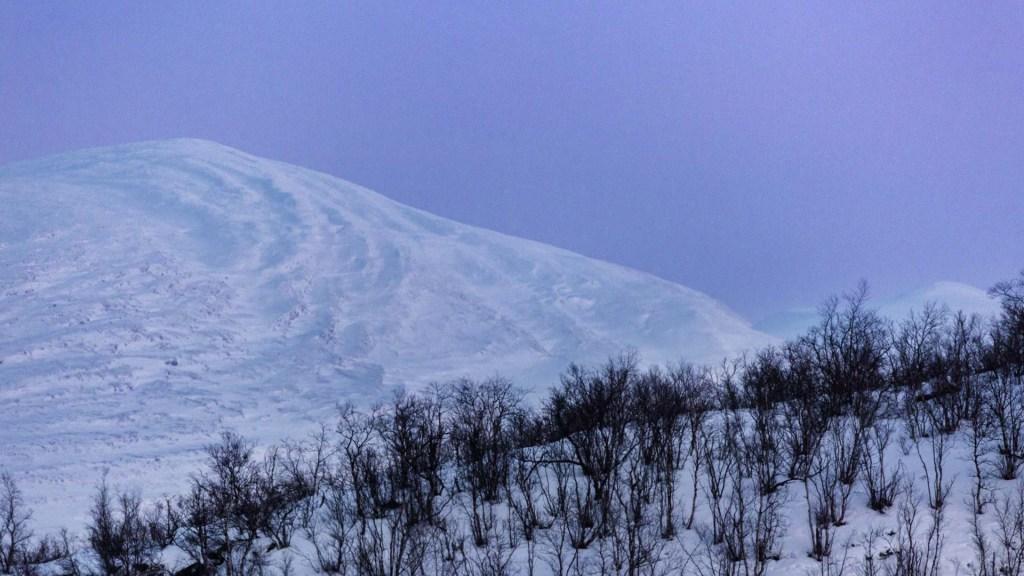 notte polare luce viola sopra le montagne