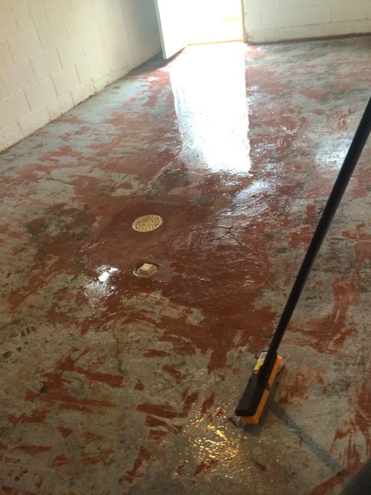 Basement Red Peeling Floor