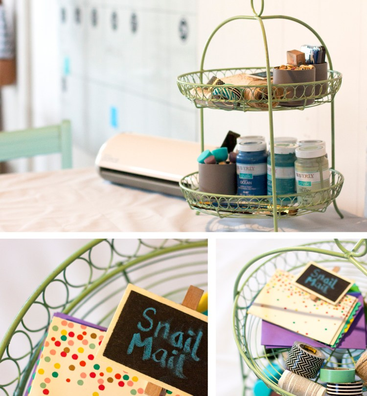 This is a cute way to organize craft supplies so they're at your fingertips