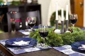 This is a cute dining room decorated for Christmas.
