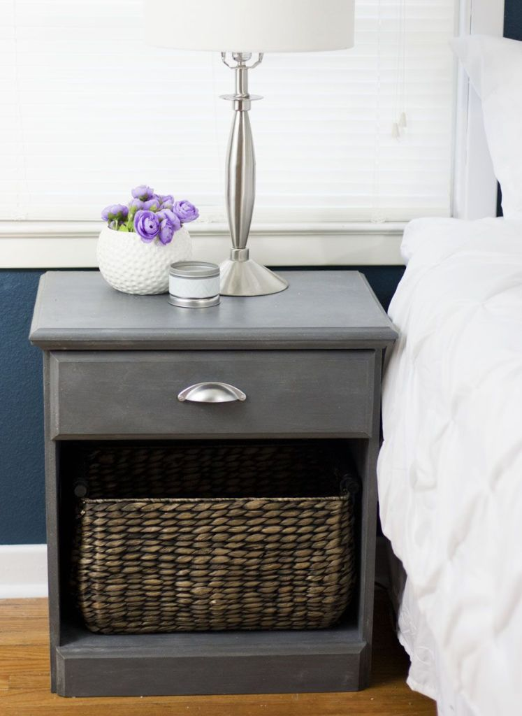 What a gorgeous nightstand painting project! I love the dark grey chalk paint finish with brushed nickle pull. Great One Room Challenge bedroom makeover.