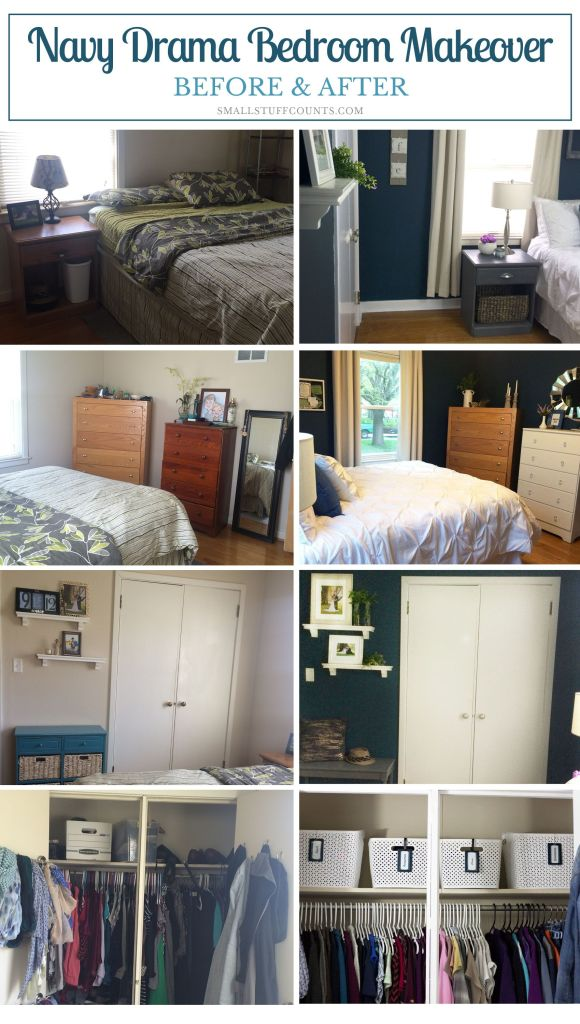 This navy bedroom is gorgeous! Lots of bedroom DIY projects and pretty details. Check out what she did in just five weeks for the One Room Challenge.