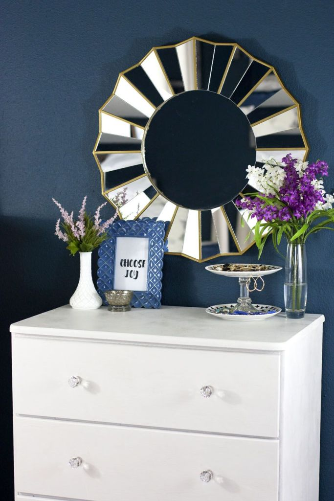 This navy bedroom is gorgeous! Check out what she did in just five weeks for the One Room Challenge. Lots of bedroom DIY projects and pretty details.