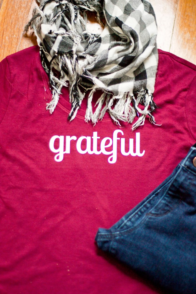 "Learn how to customize a shirt with a Silhouette machine. Download the free ""grateful"" lettering to create your own, perfect for fall weather or Thanksgiving dinner."