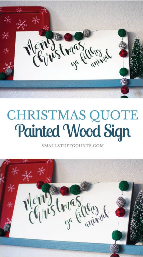 What a simple but cute Christmas sign. The 'merry Christmas 'ya filthy animal' quote is funny and a great nod to one of my favorite Christmas movies, Home Alone. She made this painted wood sign with her Silhouette! It looks so professional for a DIY sign!