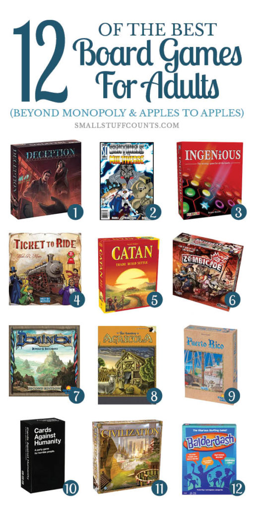 collage of 12 images best board games for adults