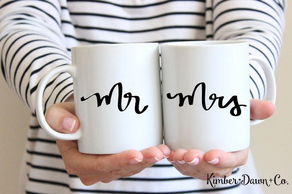 Image of DIY Mr. and Mrs. mugs gift idea made with Silhouette