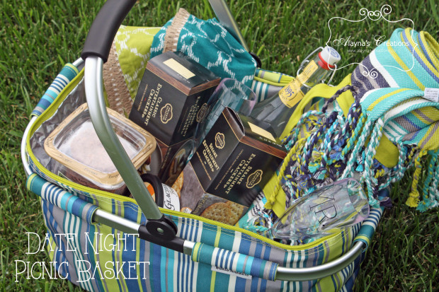 Image of DIY date night picnic basket gift idea using Silhouette