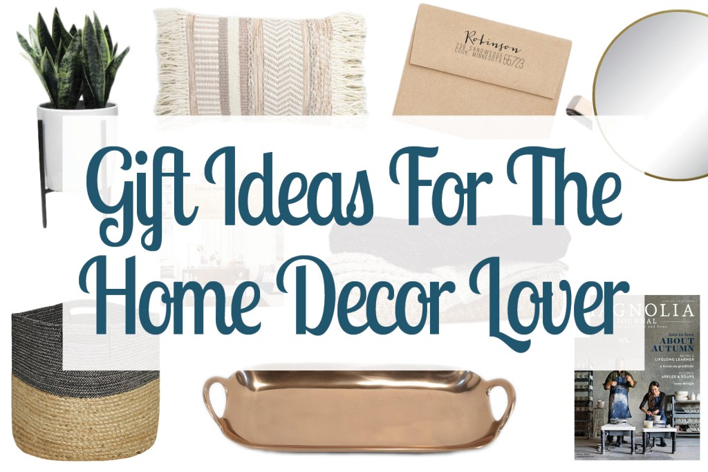 Collage of images showing gift ideas for the home decor lover