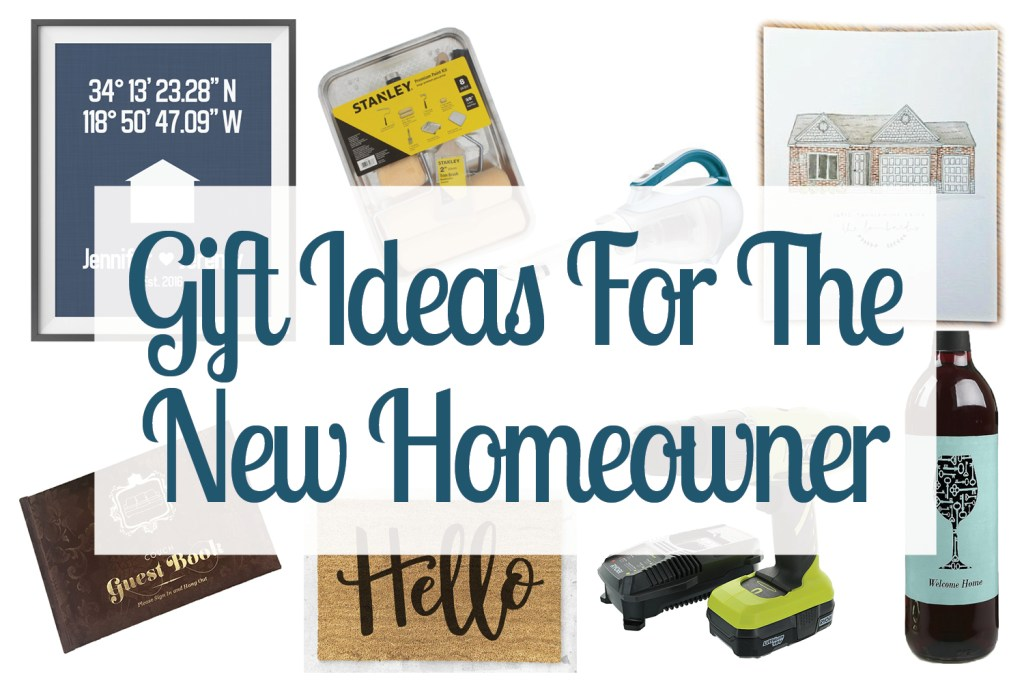 Collage of photos including gift ideas for the new homeowner