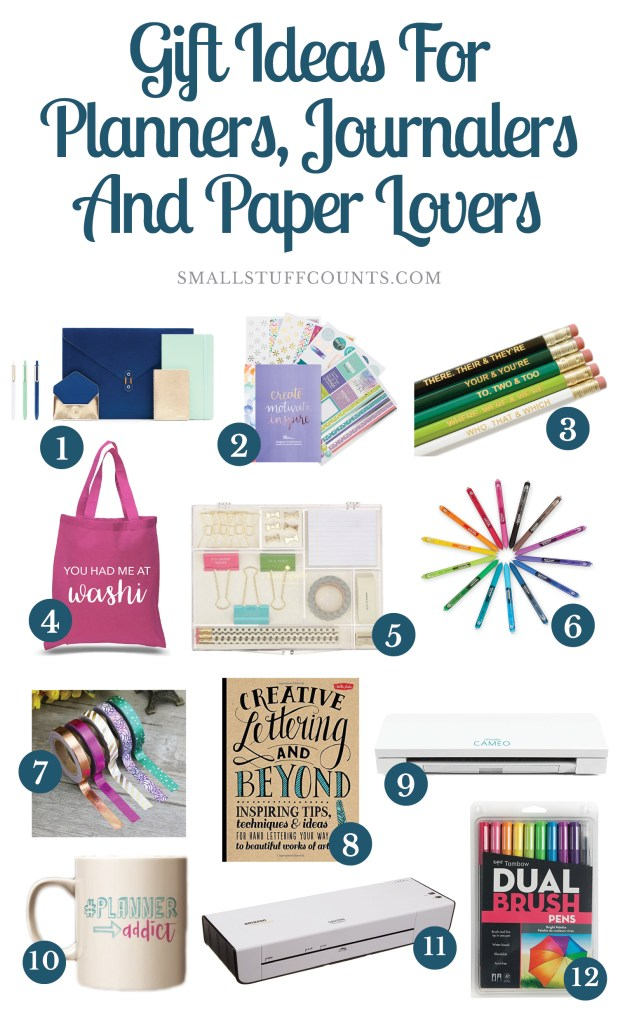 collage of 12 gift idea images for planners, journalers and paper lovers