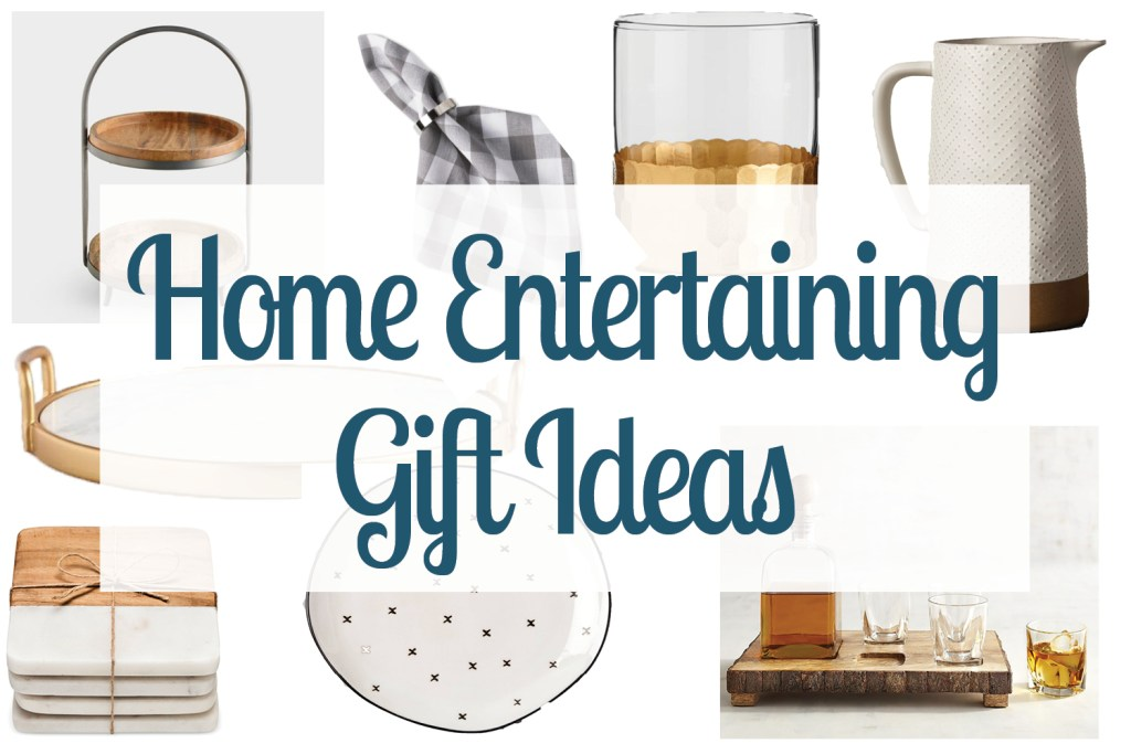 Collage of images showing home entertaining gift ideas