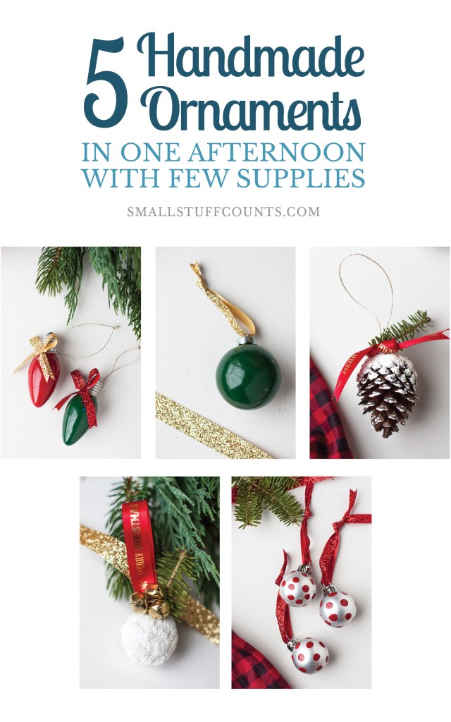 Here are simple tutorials for five DIY Christmas ornaments! Love how cheap these would be to make! Christmas Decorations | DIY Christmas Ideas | DIY Christmas Ornaments | Handmade Ornaments | Ornament Tutorials | DIY Christmas Tree | Cheap Christmas Ornaments | #DecoArtProjects