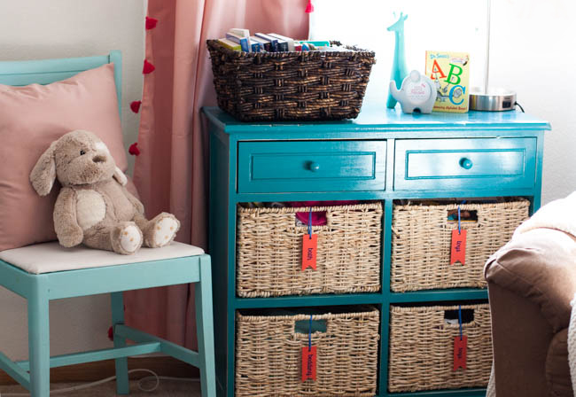 Organized Nursery Dresser Blue Pink