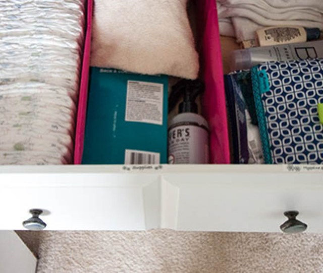 Organized Dresser Drawer With Diapers And Baby Supplies