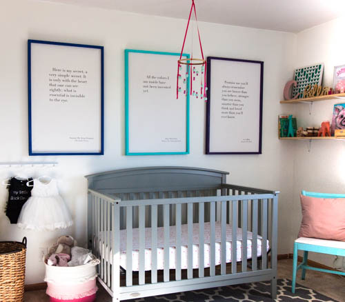colorful-diy-nursery-decor-including-huge-canvas-art-above-crib