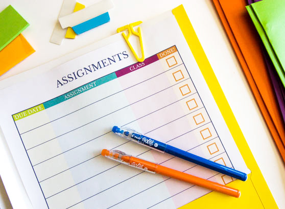 Organizing Homework With A Free Printable Assignment Tracker - Small Stuff Counts