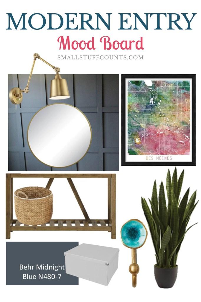 modern-entry-mood-board-with-navy-wall-and-brass-light