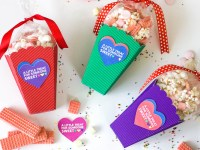 Colorful DIY Valentine Popcorn Boxes and Printable Valentine Gift Tags