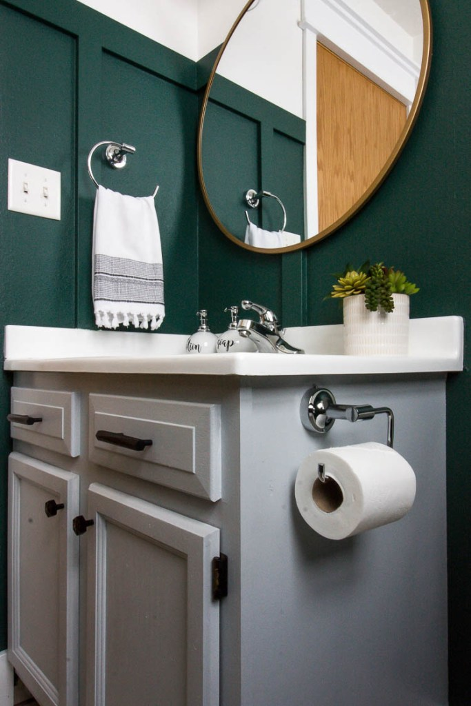 gray-vanity-in-green-bathroom