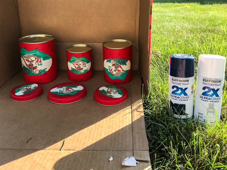 old-thrifted-tins-in-cardboard-box-for-spray-painting