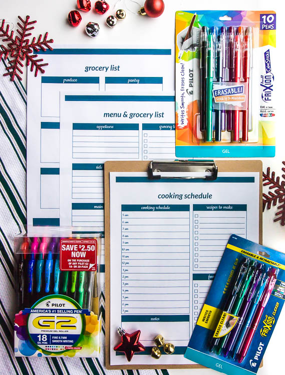 christmas-meal-planning-printables-with-pilot-pens-on-table