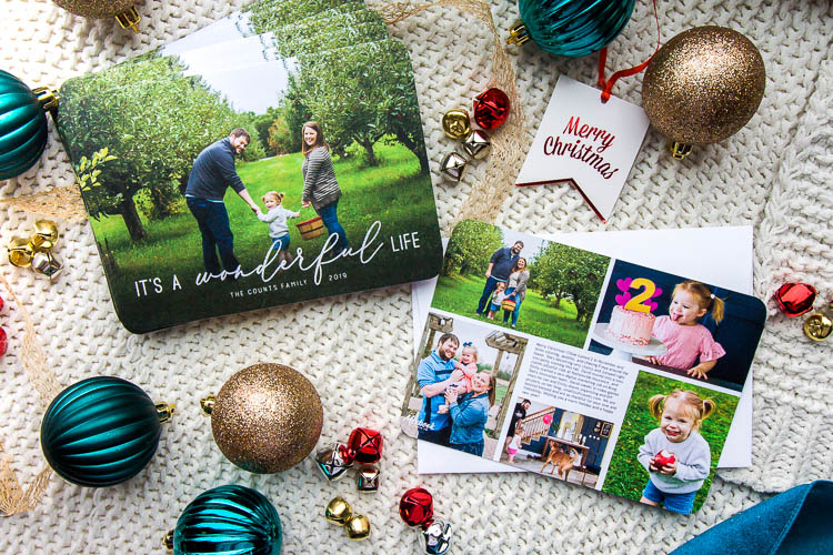 mixbook-christmas-card-flatlay-on-blanket-with-ornaments