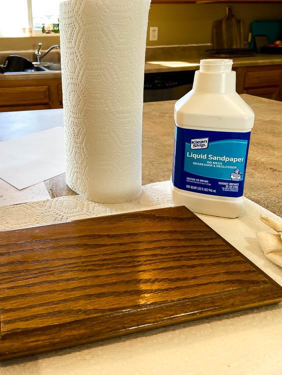 liquid sandpaper and oak cabinet door