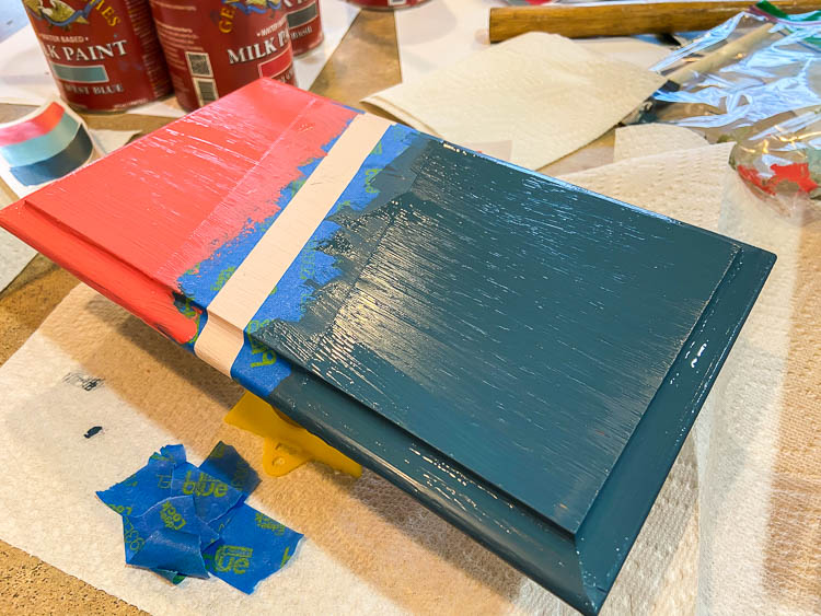 painting a blue and pink diy tray