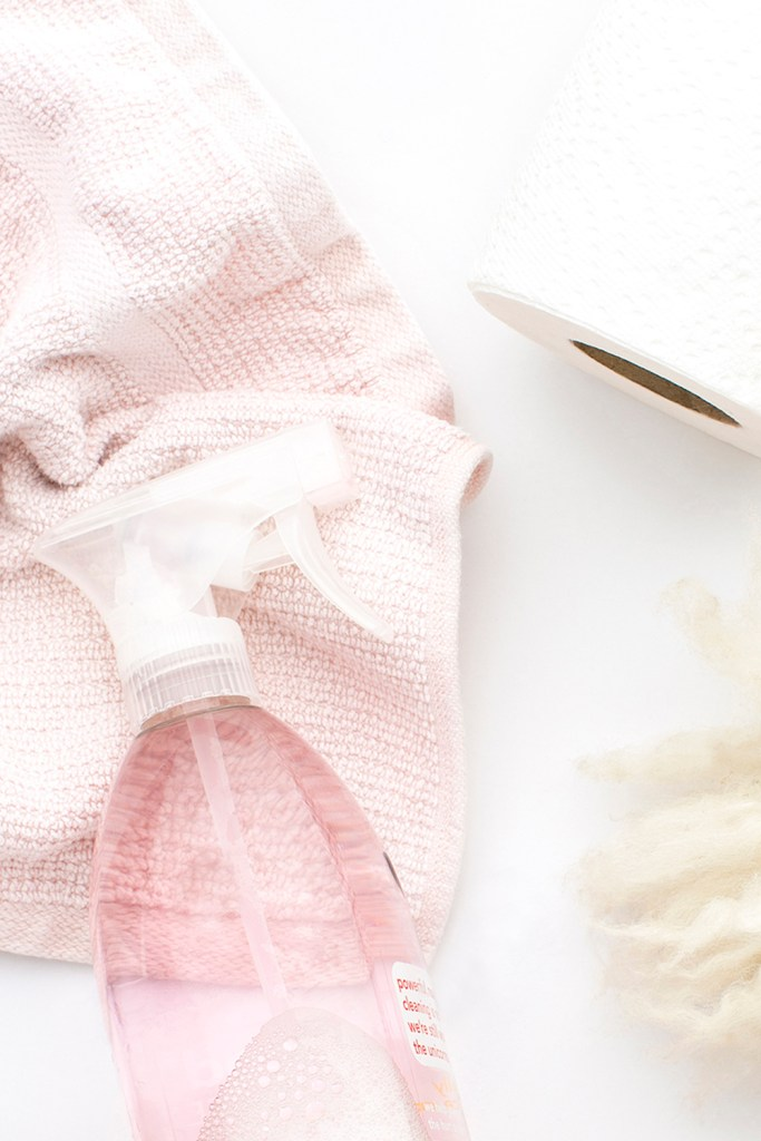 pink-cleaning-rag-and-glass-bottle