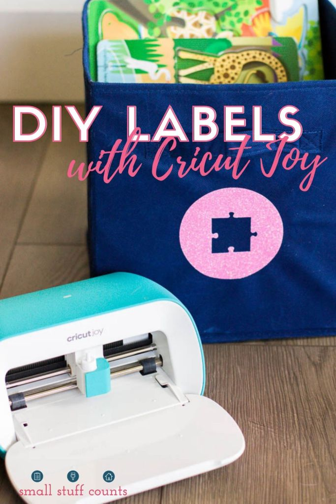 fabric bin with cricut joy label for toys