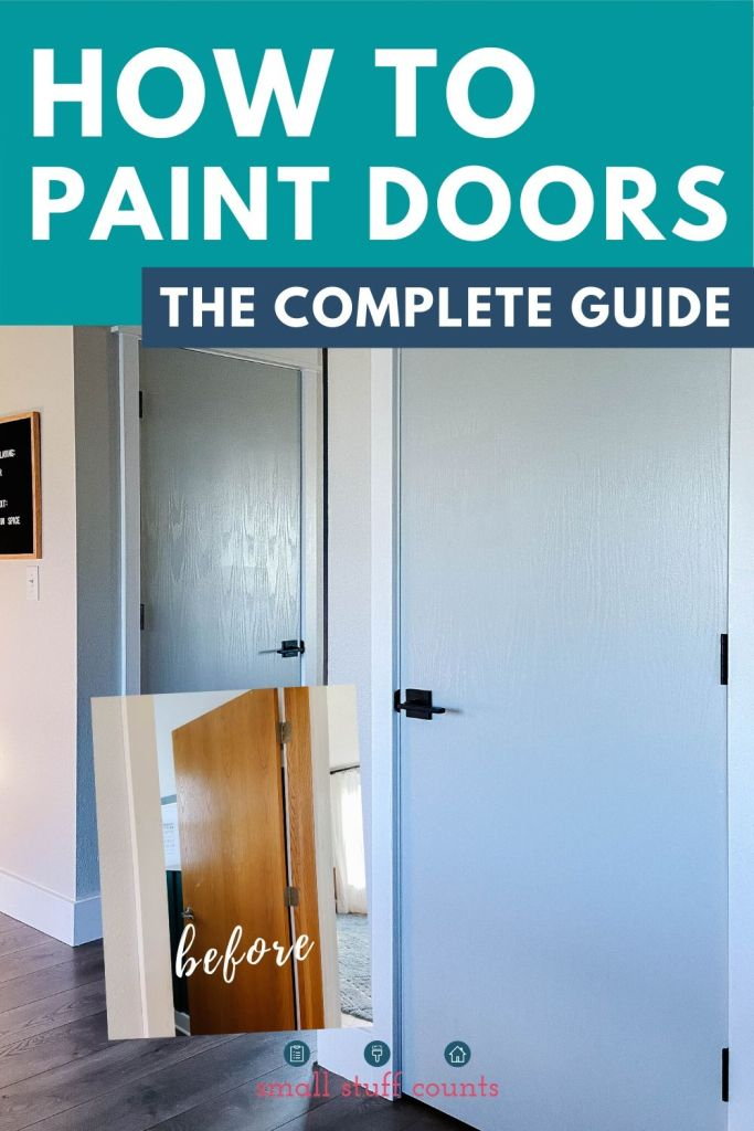 before and after photos of painted doors with text overlay