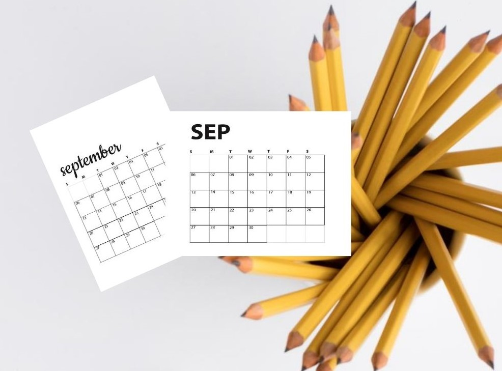 image of pencils with overlay of September calendars