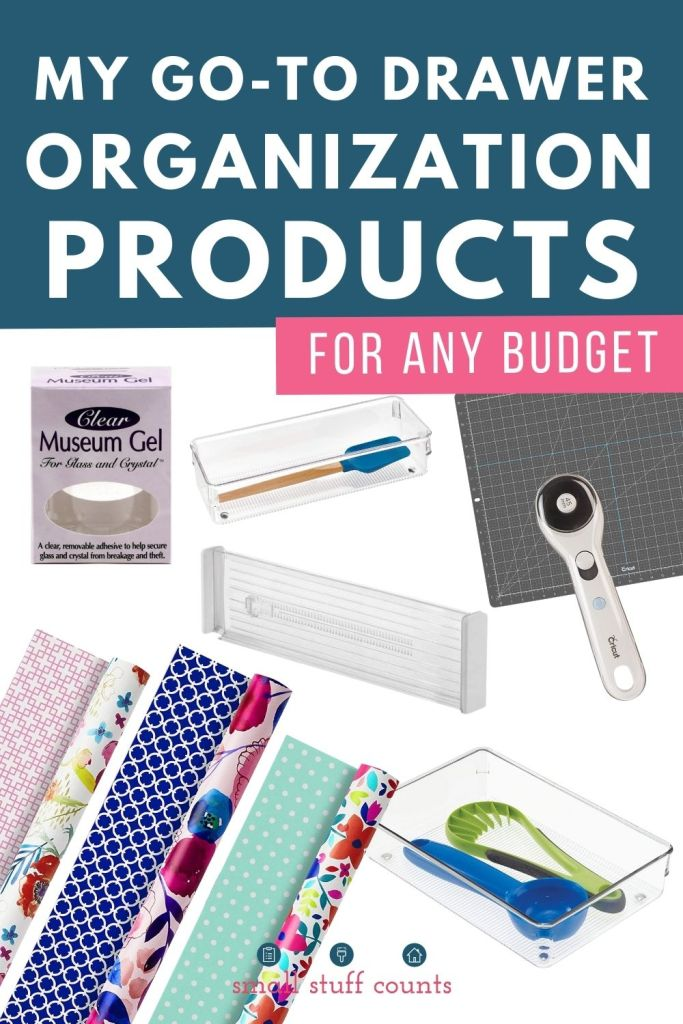 collage of organizing products with text