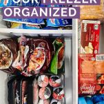 freezer drawer full of food with text