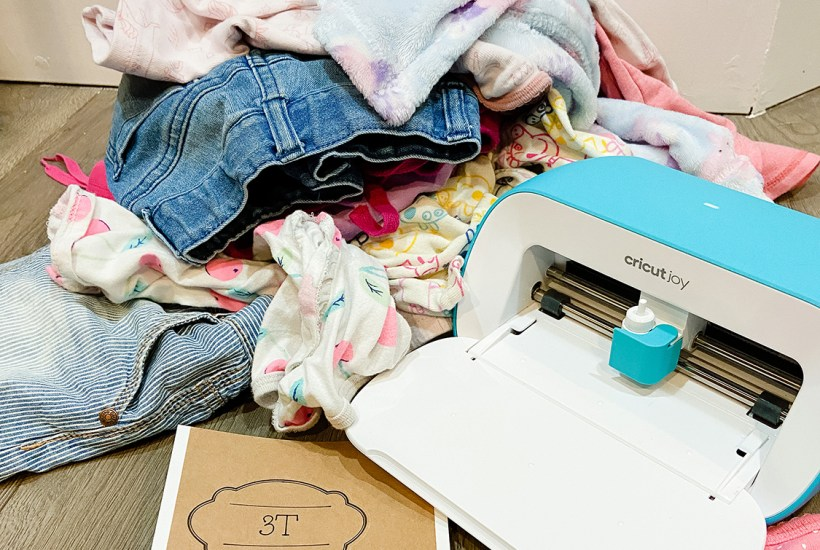 cricut joy machine with kids clothes and 3T label