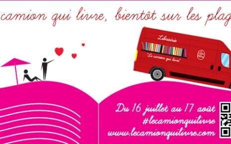 book truck - La Camion qui livre du Livre de Poche en tournée camion qui livre plages