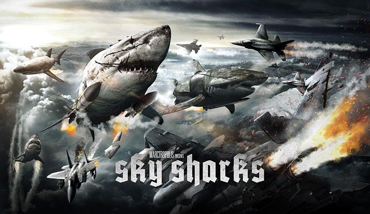 cabinet de curiosités - Le Cabinet de Curiosités : des requins volants zombies. skysharks banner