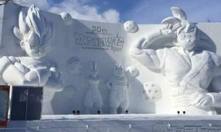 Dragon Ball Z en direct du Japon : des sculptures de Saiyans monumentales… dans la neige !