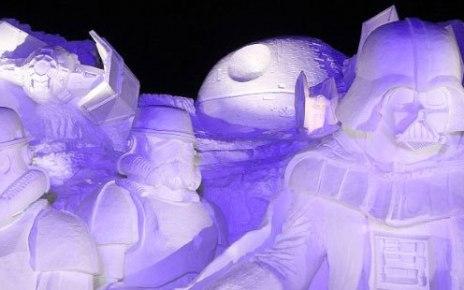 dragon ball - D'énormes sculptures de neige geeks au Festival de Sapporo, au Japon ! (Suite) DARK VADOR NUIT