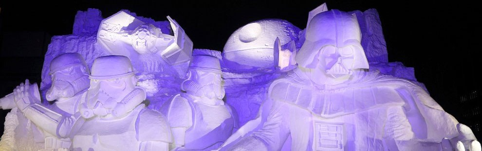 Sapporo - D'énormes sculptures de neige geeks au Festival de Sapporo, au Japon ! (Suite) DARK VADOR NUIT