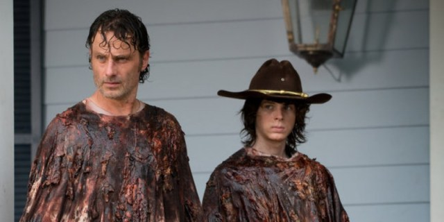 Andrew Lincoln as Rick Grimes and Chandler Riggs as Carl Grimes - The Walking Dead _ Season 6, Episode 8 - Photo Credit: Gene Page/AMC