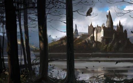 harry potter - Pottermore : trois nouveaux livres pour la rentrée HogwartsCastle WB F4 HogwartsThroughTheTrees Illust 100615 Land