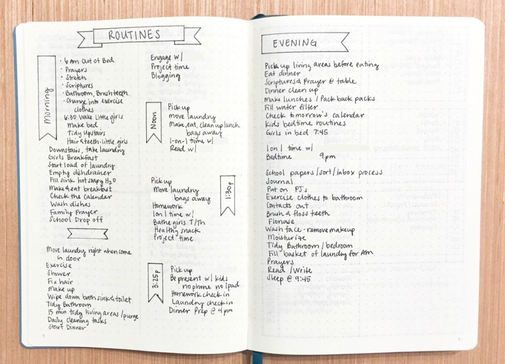 Bullet Journal habits Daily Routine