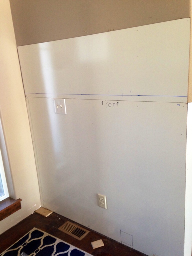 backer board on wall