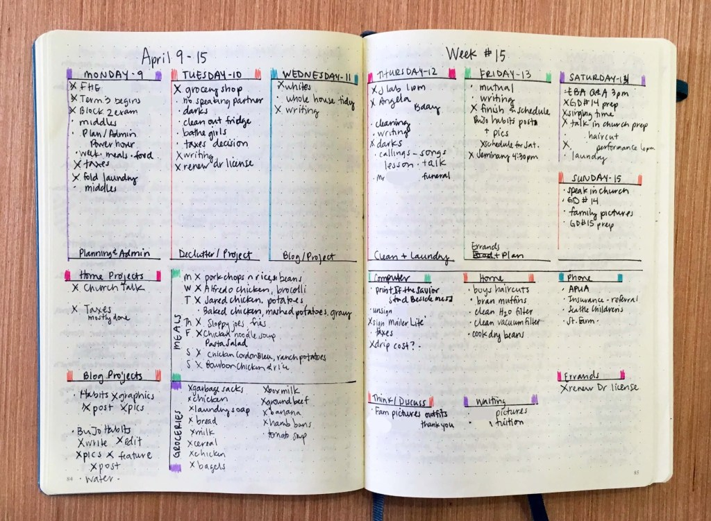 Bullet Journal to get the right things done GTD weekly log with next actions list