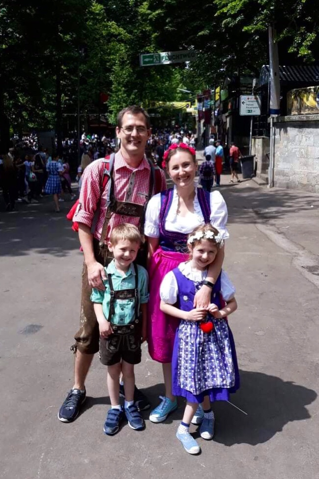 family wearing traditional German costume