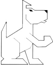 picture of our logo a white dog drawn with sharp angles