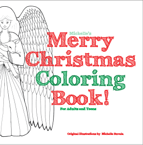 front cover of the merry christmas coloring book showing an angel and multicolored words from this adult coloring book